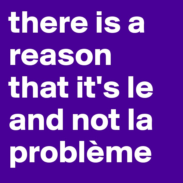 there is a reason that it's le and not la problème