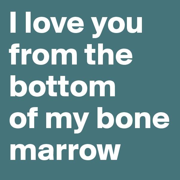 I love you from the bottom     of my bone marrow