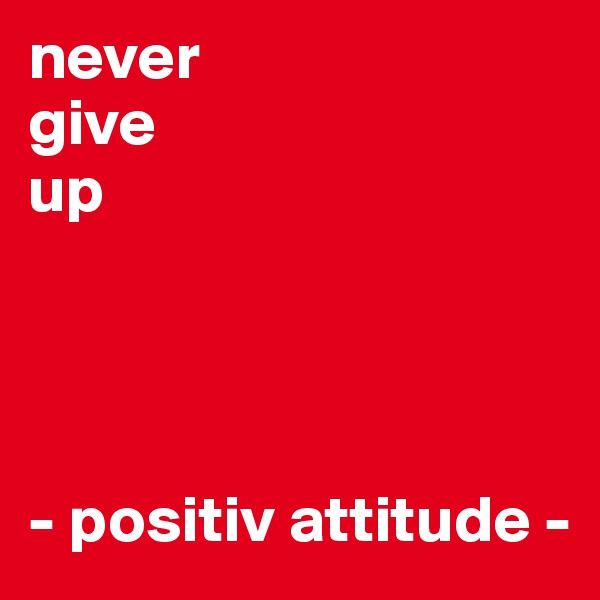 never  give  up      - positiv attitude -