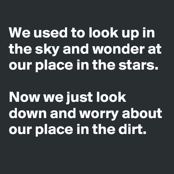 We used to look up in the sky and wonder at our place in the stars.  Now we just look down and worry about our place in the dirt.