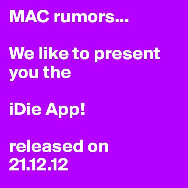MAC rumors...  We like to present you the  iDie App!  released on 21.12.12