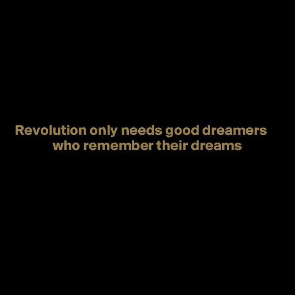 Revolution only needs good dreamers              who remember their dreams