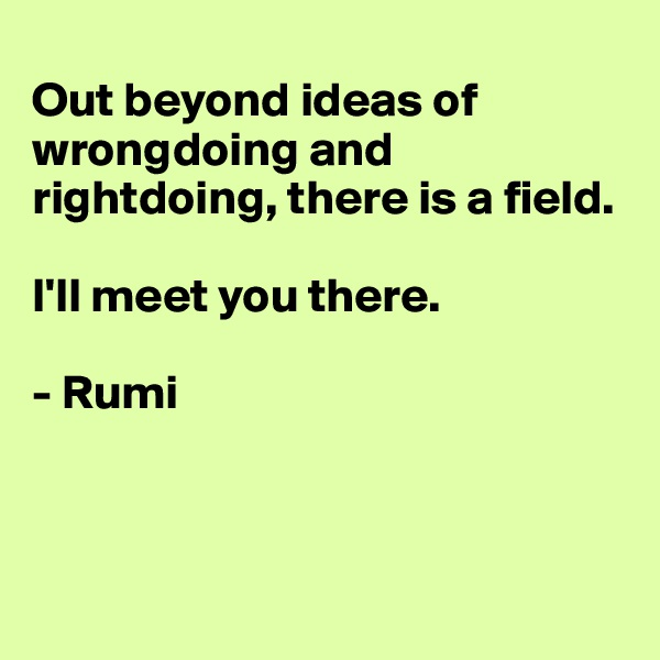 Out beyond ideas of wrongdoing and rightdoing, there is a field.   I'll meet you there.   - Rumi