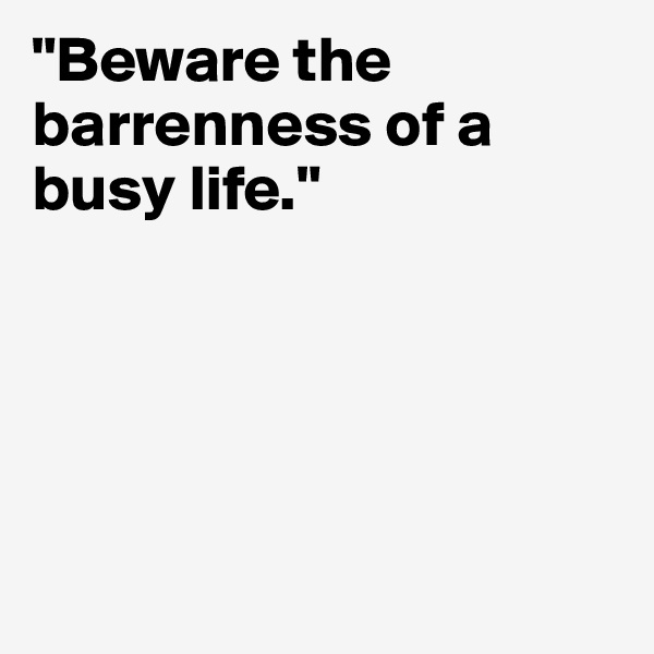 """""""Beware the barrenness of a busy life."""""""