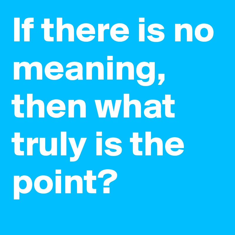 If there is no meaning, then what truly is the point?
