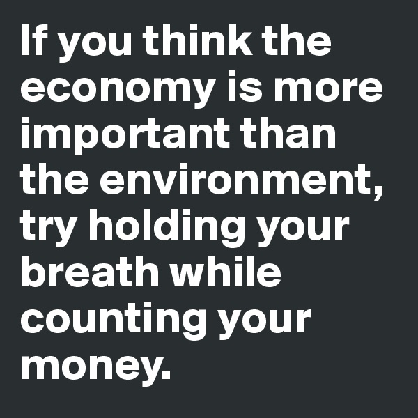 If you think the economy is more important than the environment, try holding your breath while counting your money.