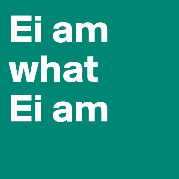Ei am what  Ei am