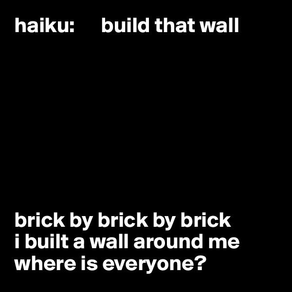 haiku:      build that wall         brick by brick by brick i built a wall around me where is everyone?