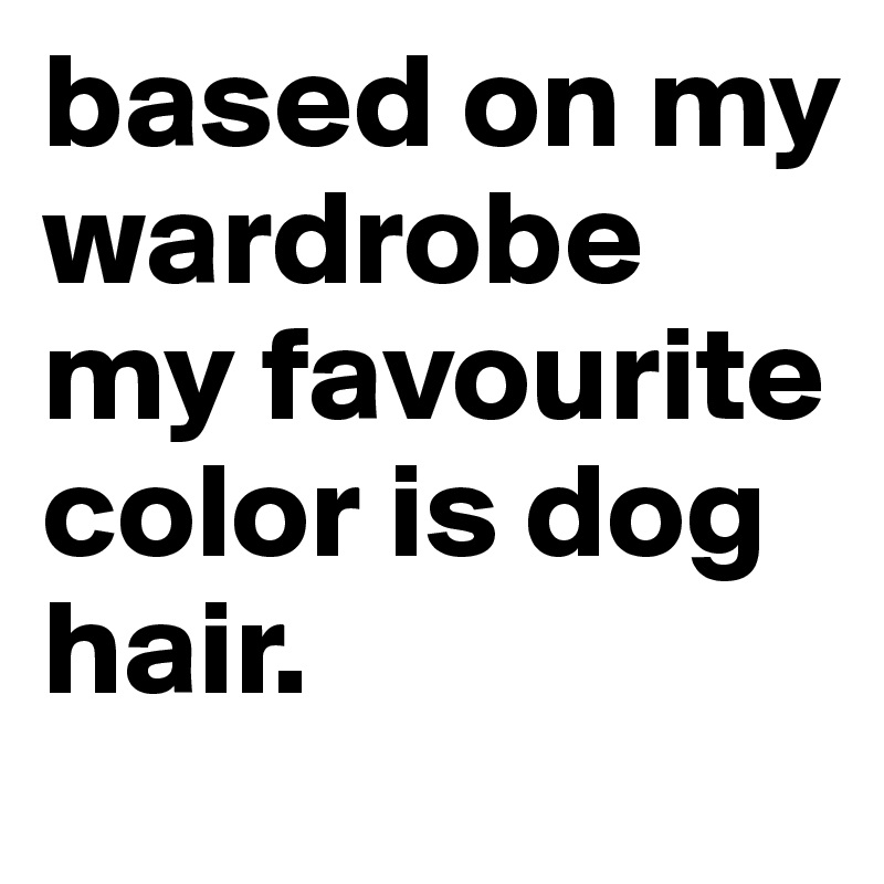 based on my wardrobe my favourite color is dog hair.