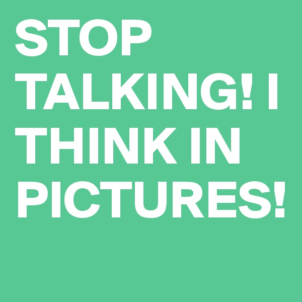 STOP TALKING! I THINK IN PICTURES!