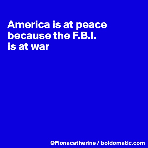 America is at peace because the F.B.I. is at war
