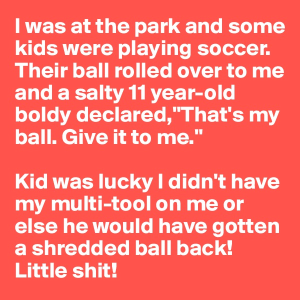"""I was at the park and some kids were playing soccer. Their ball rolled over to me and a salty 11 year-old boldy declared,""""That's my ball. Give it to me.""""   Kid was lucky I didn't have my multi-tool on me or else he would have gotten a shredded ball back! Little shit!"""