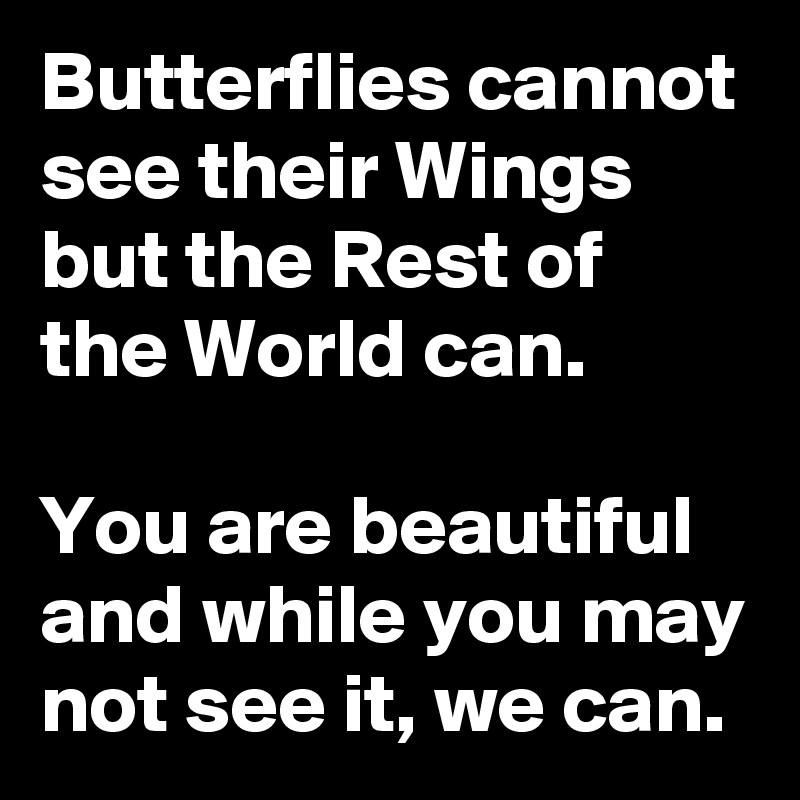 Butterflies cannot see their Wings but the Rest of the World can.  You are beautiful and while you may not see it, we can.