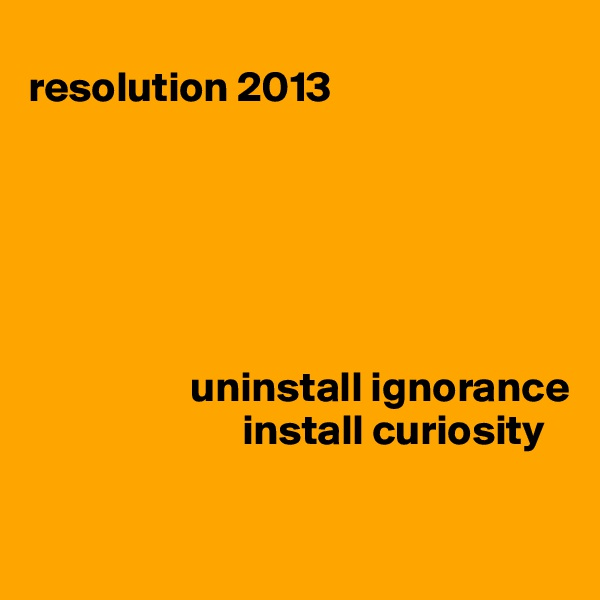 resolution 2013                               uninstall ignorance                          install curiosity