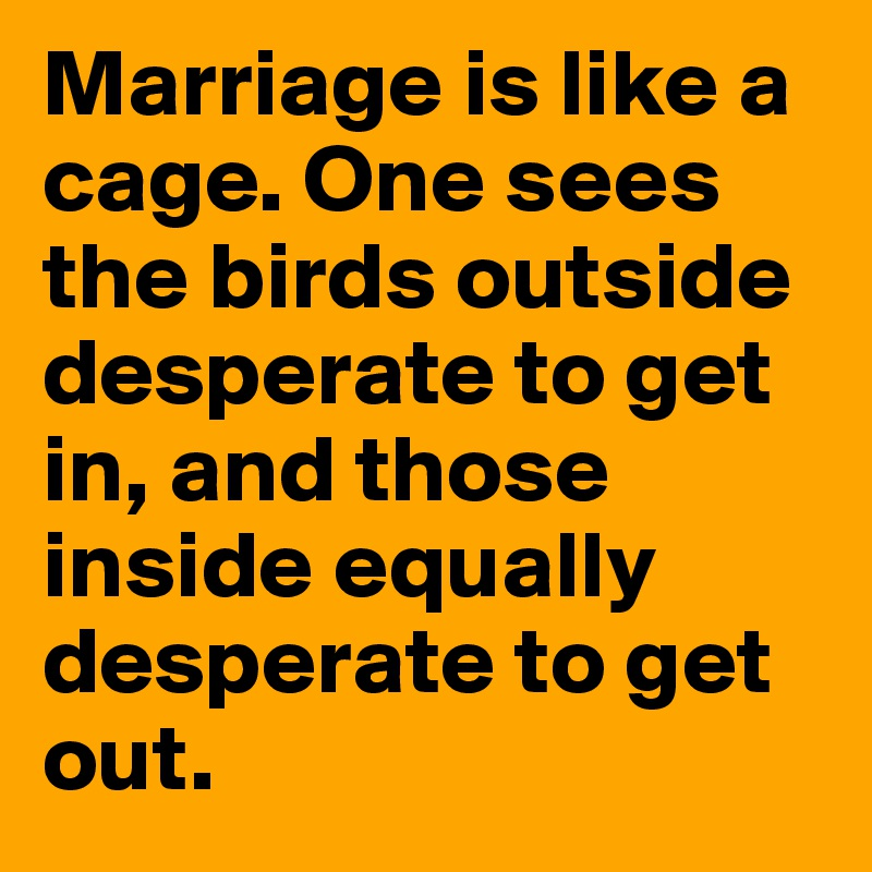 Marriage is like a cage. One sees the birds outside desperate to get in, and those inside equally desperate to get out.