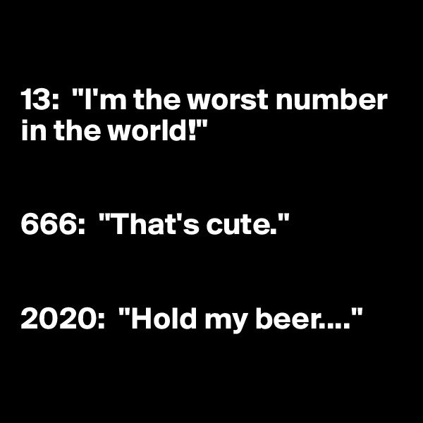 """13:  """"I'm the worst number in the world!""""   666:  """"That's cute.""""   2020:  """"Hold my beer...."""""""