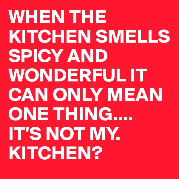 WHEN THE KITCHEN SMELLS SPICY AND WONDERFUL IT CAN ONLY MEAN ONE THING.... IT'S NOT MY. KITCHEN?