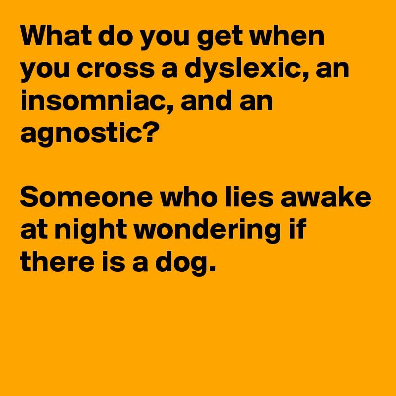 What do you get when you cross a dyslexic, an insomniac ...