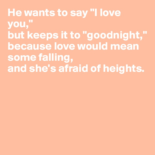 """He wants to say """"I love you,"""" but keeps it to """"goodnight,"""" because love would mean some falling, and she's afraid of heights."""