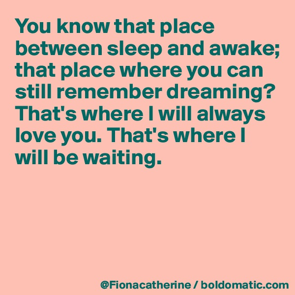 You know that place between sleep and awake; that place where you can  still remember dreaming? That's where I will always love you. That's where I  will be waiting.