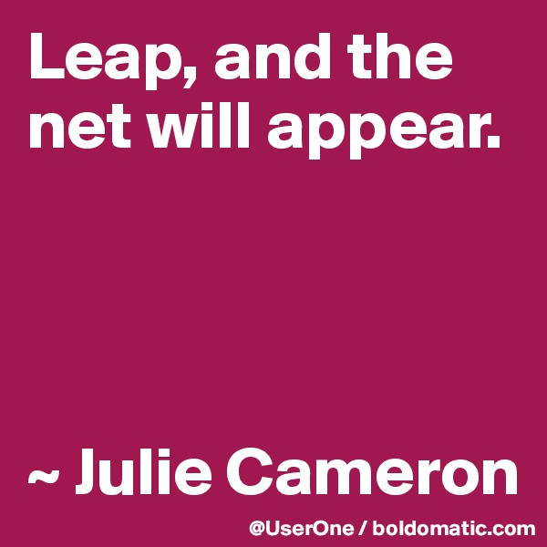 Leap, and the net will appear.     ~ Julie Cameron