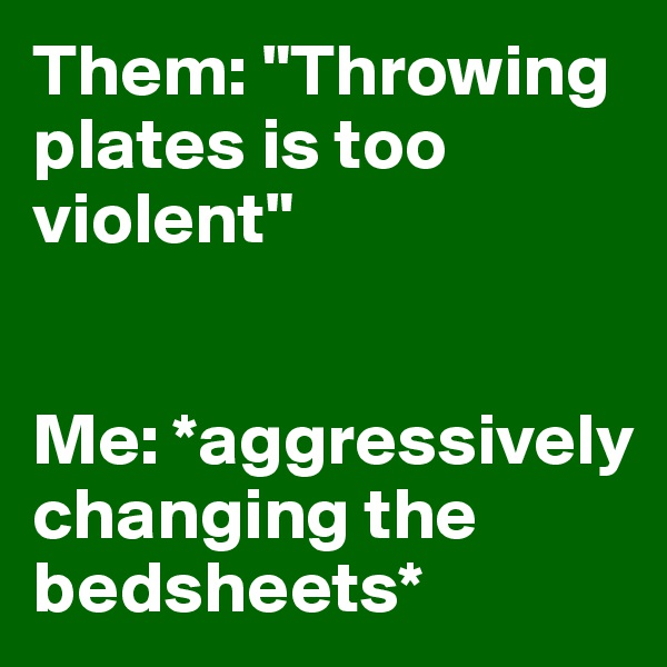 """Them: """"Throwing plates is too violent""""   Me: *aggressively changing the bedsheets*"""