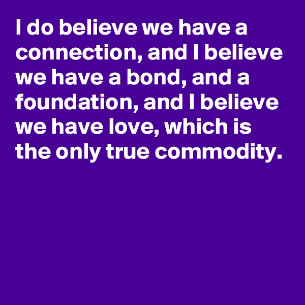 I do believe we have a connection, and I believe we have a bond, and a foundation, and I believe we have love, which is the only true commodity.