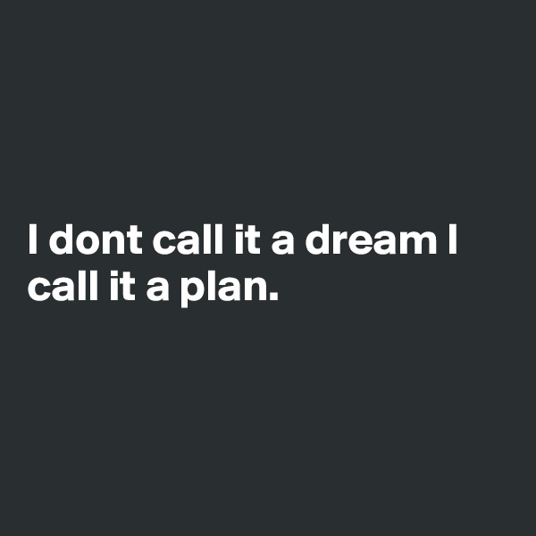 I dont call it a dream I call it a plan.