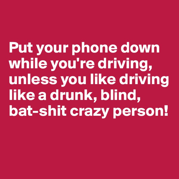 Put your phone down while you're driving, unless you like driving like a drunk, blind, bat-shit crazy person!