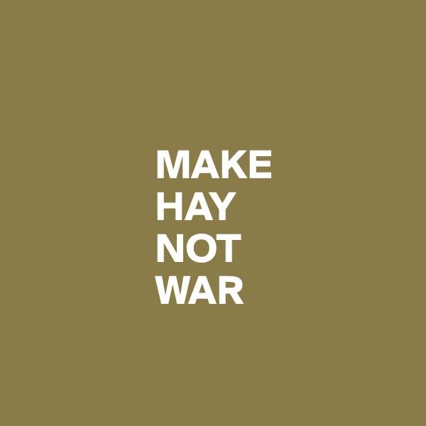 MAKE                  HAY                  NOT                  WAR