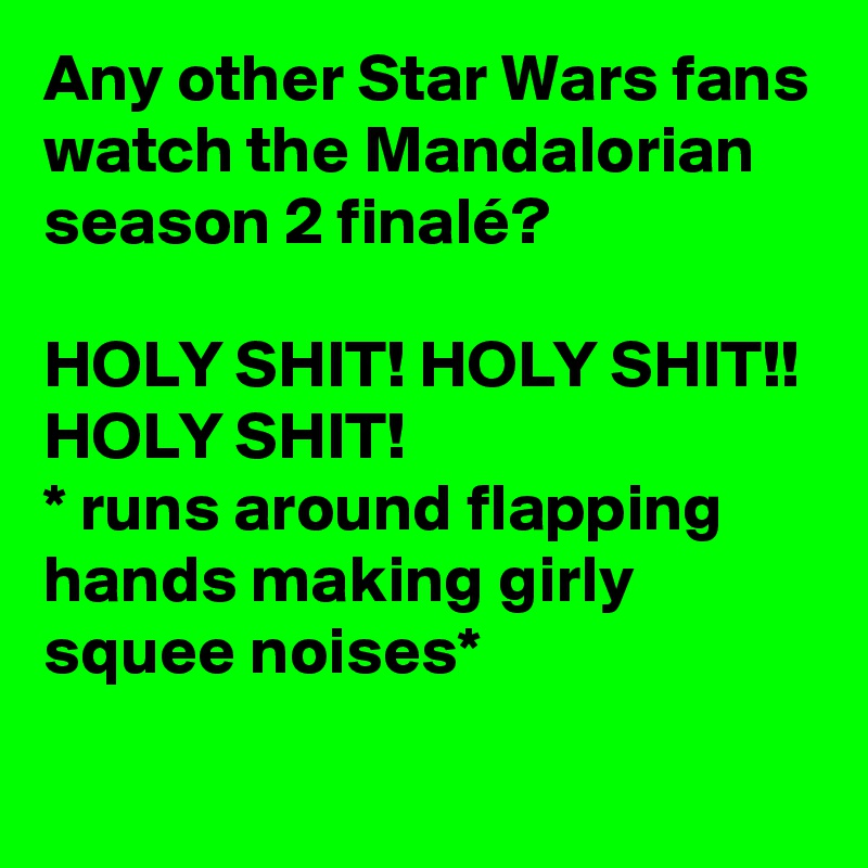 Any other Star Wars fans watch the Mandalorian season 2 finalé?  HOLY SHIT! HOLY SHIT!! HOLY SHIT! * runs around flapping hands making girly squee noises*