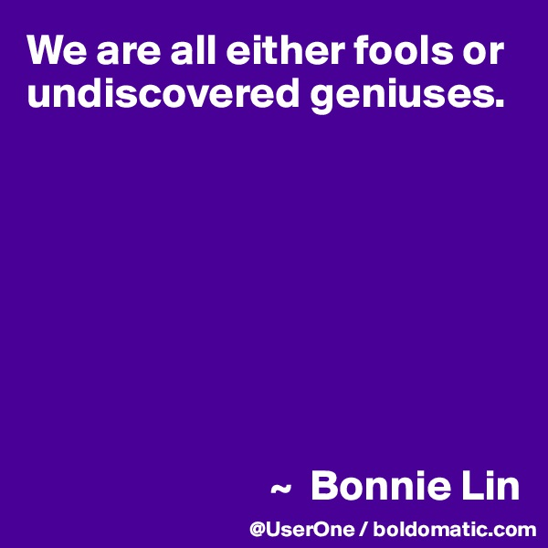 We are all either fools or undiscovered geniuses.                                     ~  Bonnie Lin