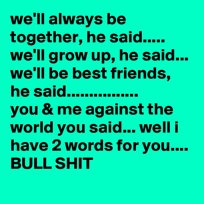 we'll always be together, he said..... we'll grow up, he said... we'll be best friends, he said................ you & me against the world you said... well i have 2 words for you.... BULL SHIT