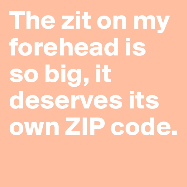 The zit on my forehead is so big, it deserves its own ZIP code.