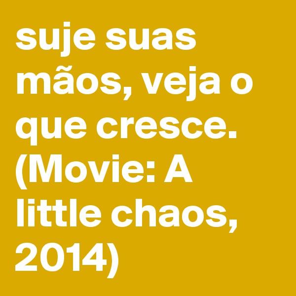 suje suas mãos, veja o que cresce. (Movie: A little chaos, 2014)