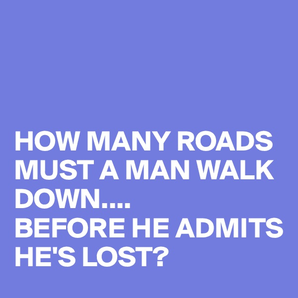 HOW MANY ROADS MUST A MAN WALK DOWN.... BEFORE HE ADMITS HE'S LOST?