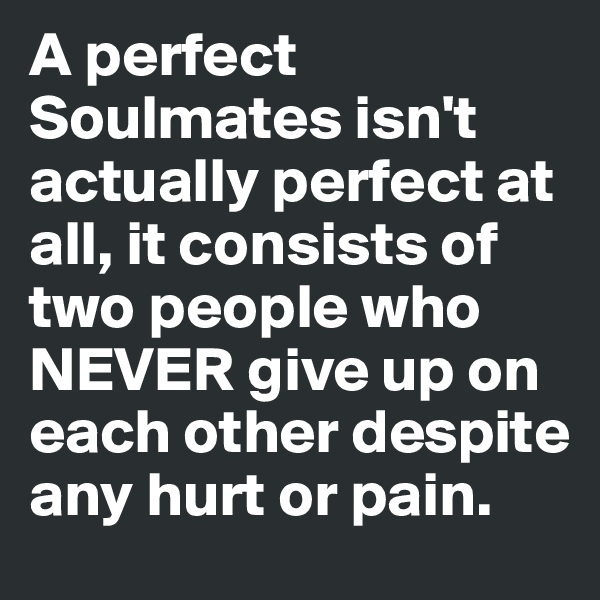 A perfect Soulmates isn't actually perfect at all, it consists of two people who NEVER give up on each other despite any hurt or pain.
