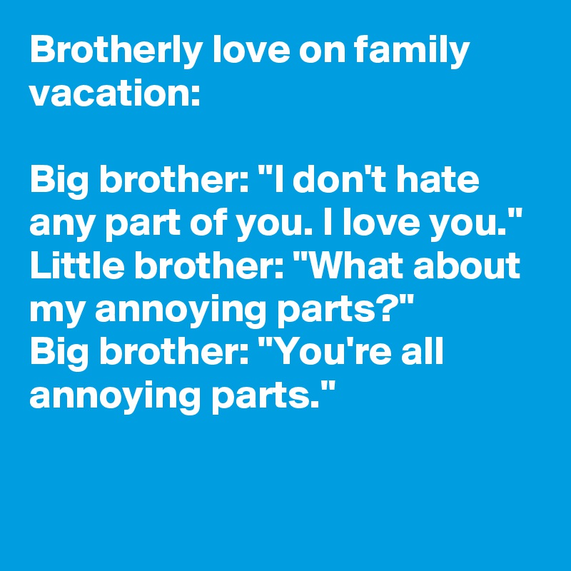 Brotherly Love On Family Vacation Big Brother I Dont Hate Any