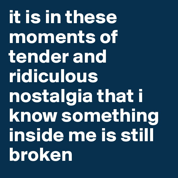 it is in these moments of tender and ridiculous nostalgia that i know something inside me is still broken