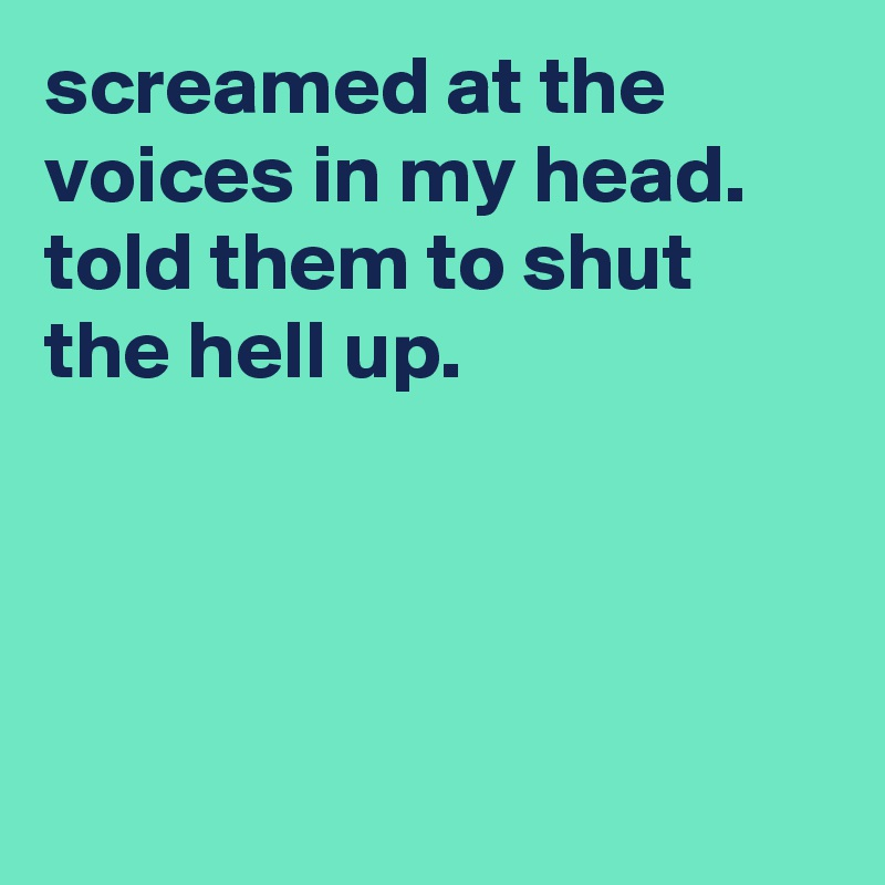 screamed at the voices in my head. told them to shut the hell up.