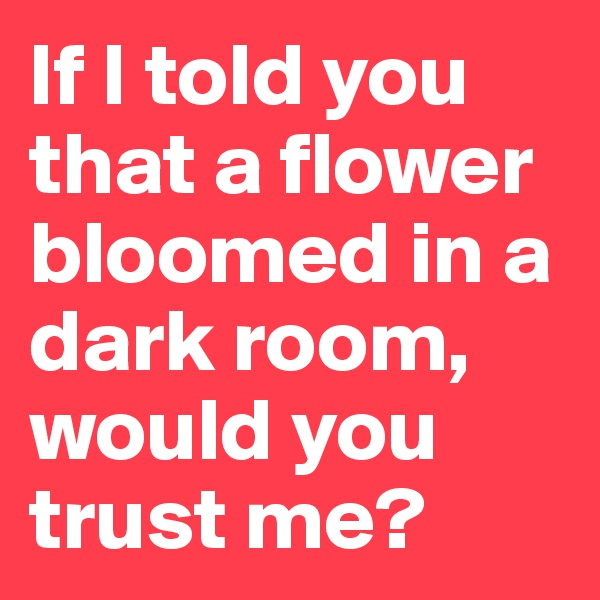 If I told you that a flower bloomed in a dark room, would you trust me?