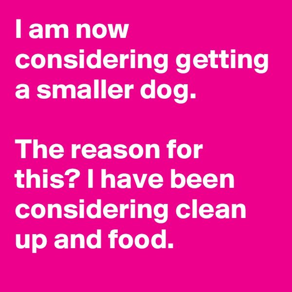 I am now considering getting a smaller dog.  The reason for this? I have been considering clean up and food.