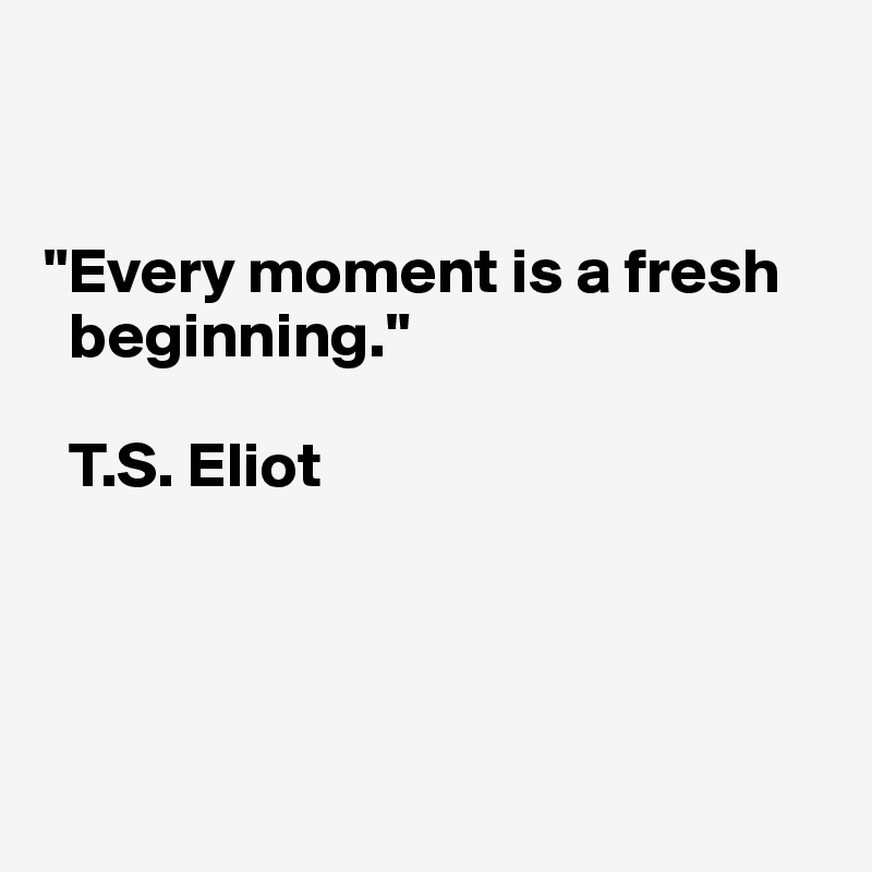 """""""Every moment is a fresh    beginning.""""    T.S. Eliot"""