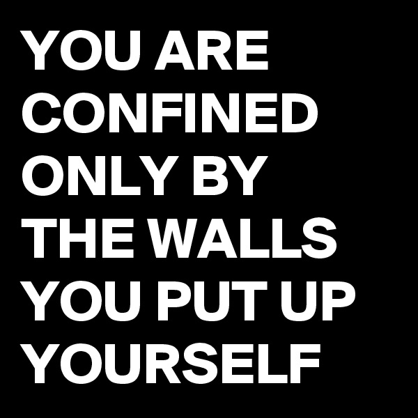 YOU ARE CONFINED ONLY BY THE WALLS YOU PUT UP YOURSELF