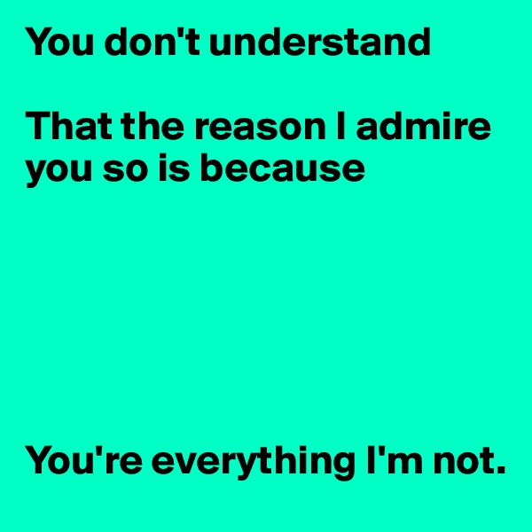 You don't understand  That the reason I admire you so is because       You're everything I'm not.