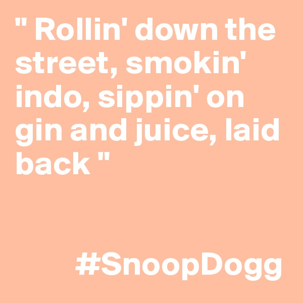 """ Rollin' down the street, smokin' indo, sippin' on gin and juice, laid back ""            #SnoopDogg"