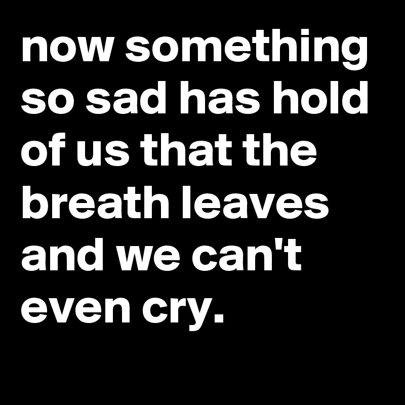 now something so sad has hold of us that the breath leaves and we can't even cry.