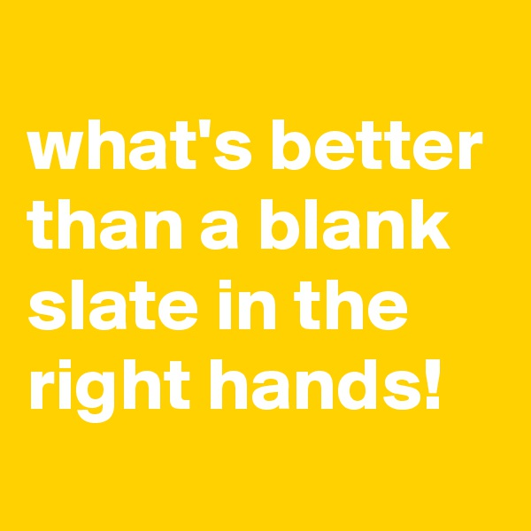 what's better than a blank slate in the right hands!