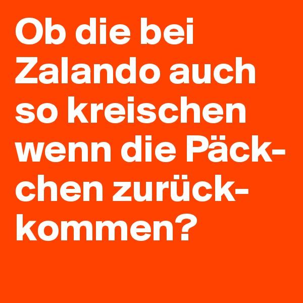 Ob die bei Zalando auch so kreischen wenn die Päck-chen zurück-kommen?
