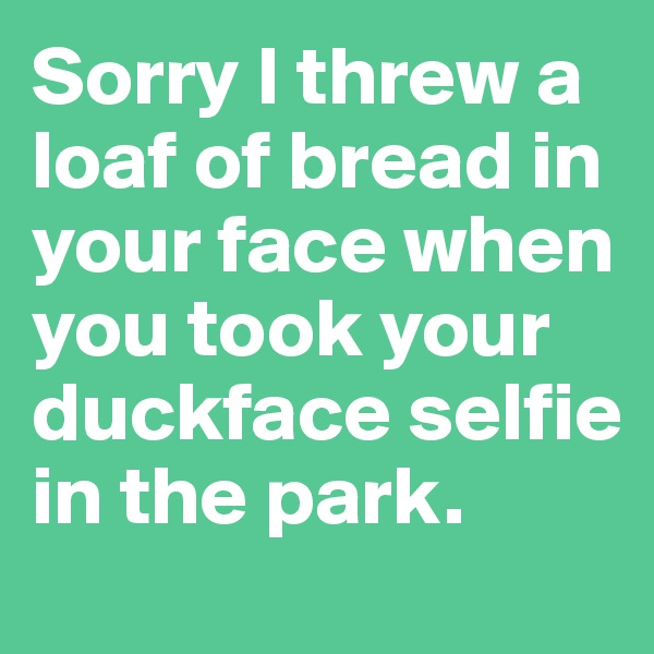 Sorry I threw a loaf of bread in your face when you took your duckface selfie in the park.